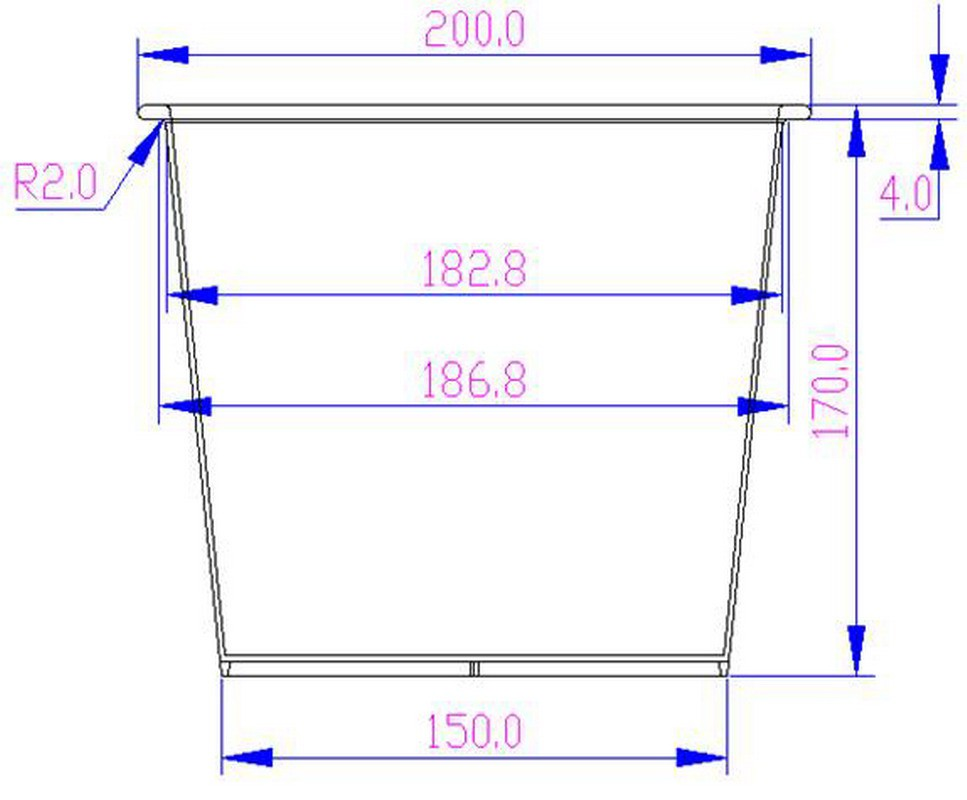 Kunststoffeinsatz für Pflanzkübel – 20x20x17cm – Schwarz