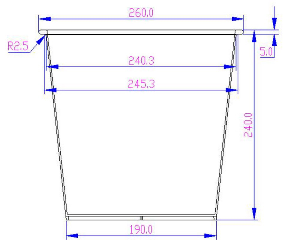 Kunststoffeinsatz quadratisch konisch 26x26x24cm schwarz mit ...