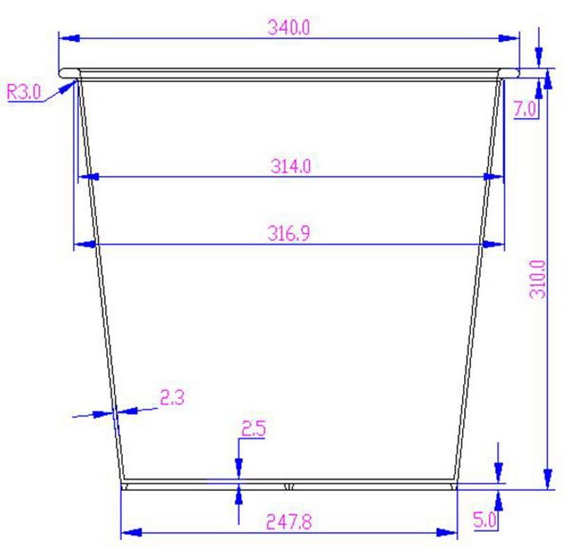 Kunststoffeinsatz quadratisch konisch 34x34x31cm schwarz mit ...
