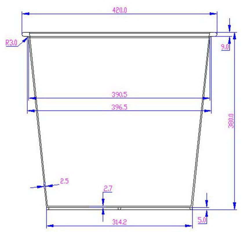 Kunststoffeinsatz quadratisch konisch 42x42x38cm schwarz mit ...