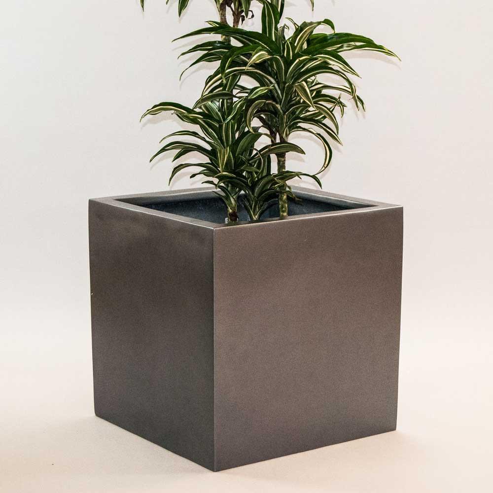 Großartig Blumenkübel Fiberglas anthrazit metallic quadratisch 30x30x30cm YX31