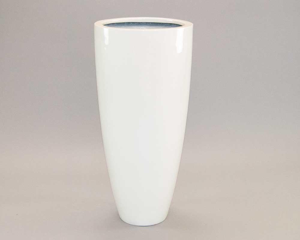 Brandneu Blumenkübel Fiberglas rund konisch D30xH60cm hochglanz weiß. VX39