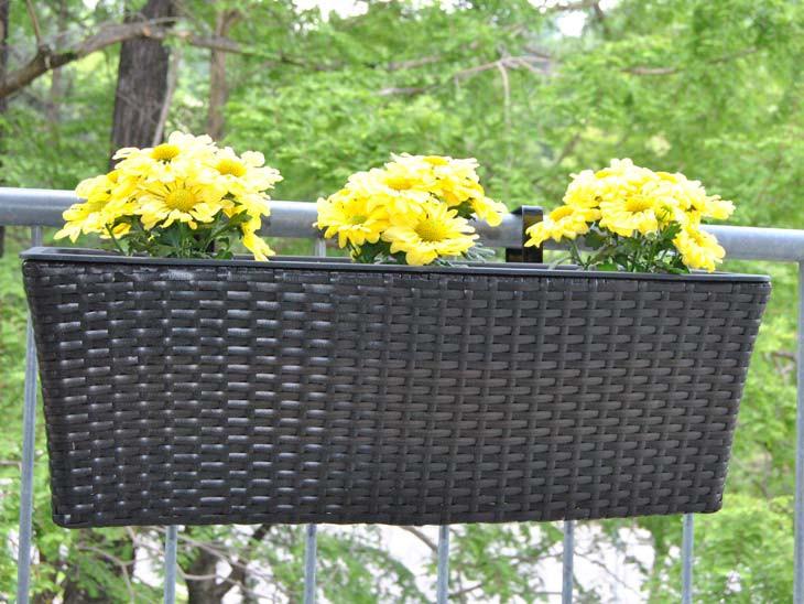 Blumenkasten Polyrattan 60x19x20cm coffee braun