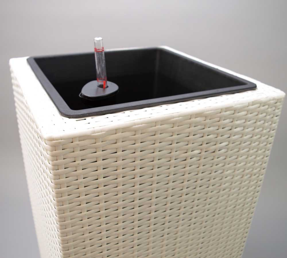 blumenk bel bertopf polyrattan s ule 30x30x80cm wei. Black Bedroom Furniture Sets. Home Design Ideas