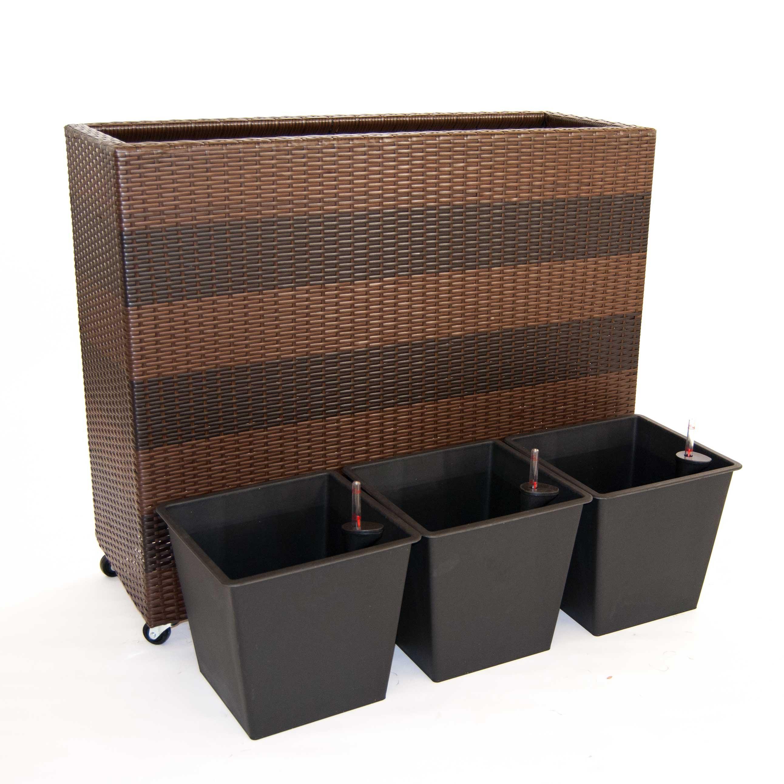 pflanzk bel pflanztrog polyrattan als raumteiler mit rollen 106x40x90cm coffee braun. Black Bedroom Furniture Sets. Home Design Ideas