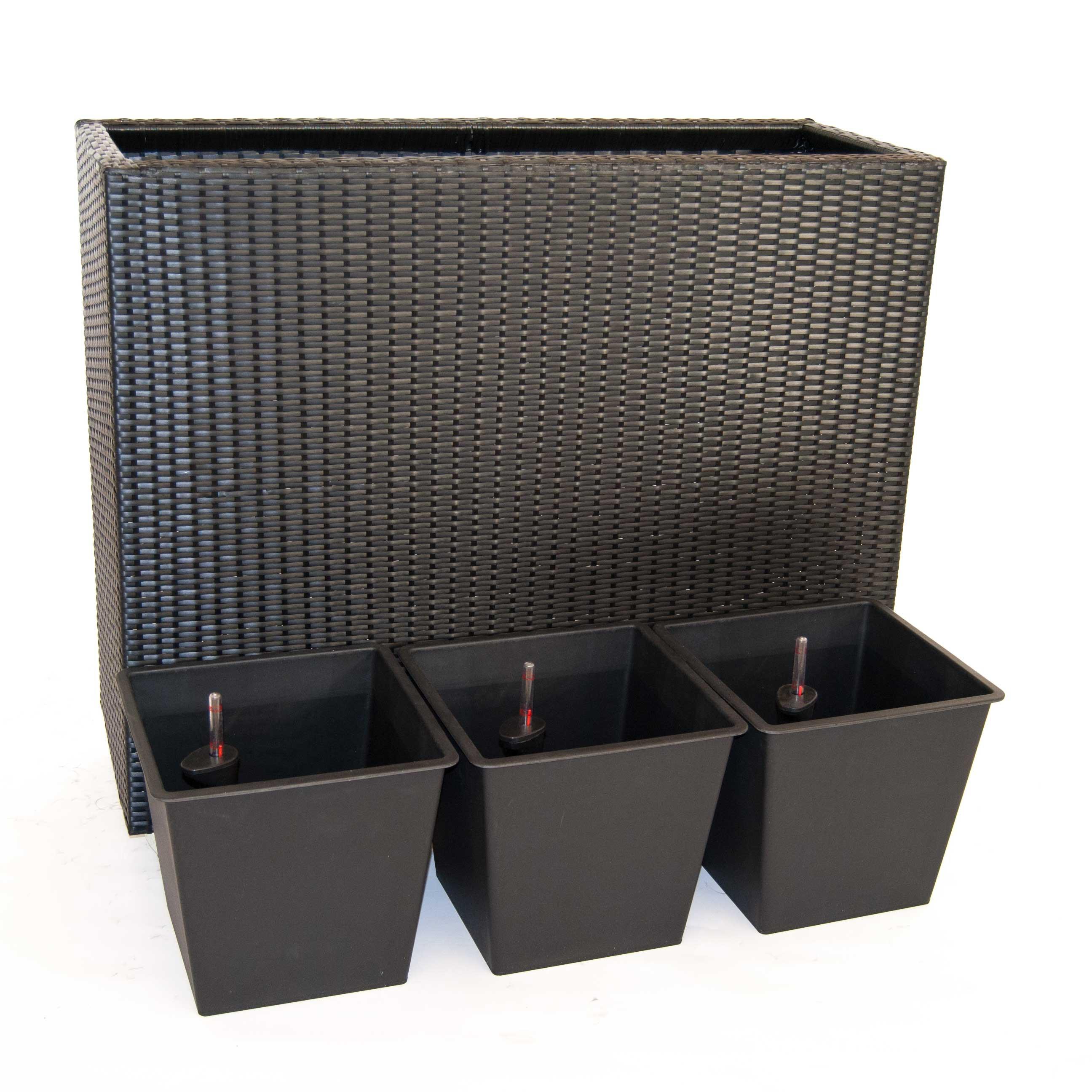 pflanzk bel pflanztrog polyrattan als raumteiler mit rollen 106x40x90cm schwarz. Black Bedroom Furniture Sets. Home Design Ideas