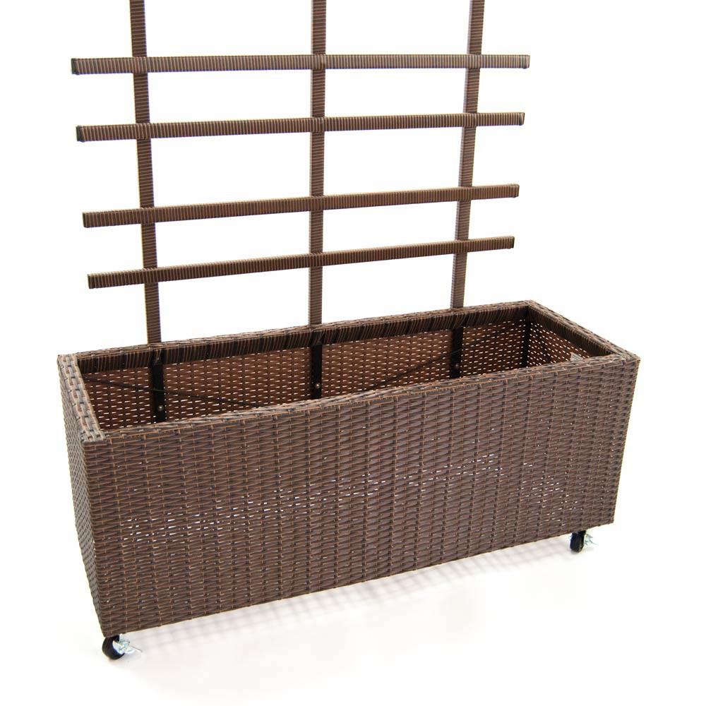 pflanzk bel pflanztrog polyrattan mit rankgitter 82x30x100cm braun. Black Bedroom Furniture Sets. Home Design Ideas