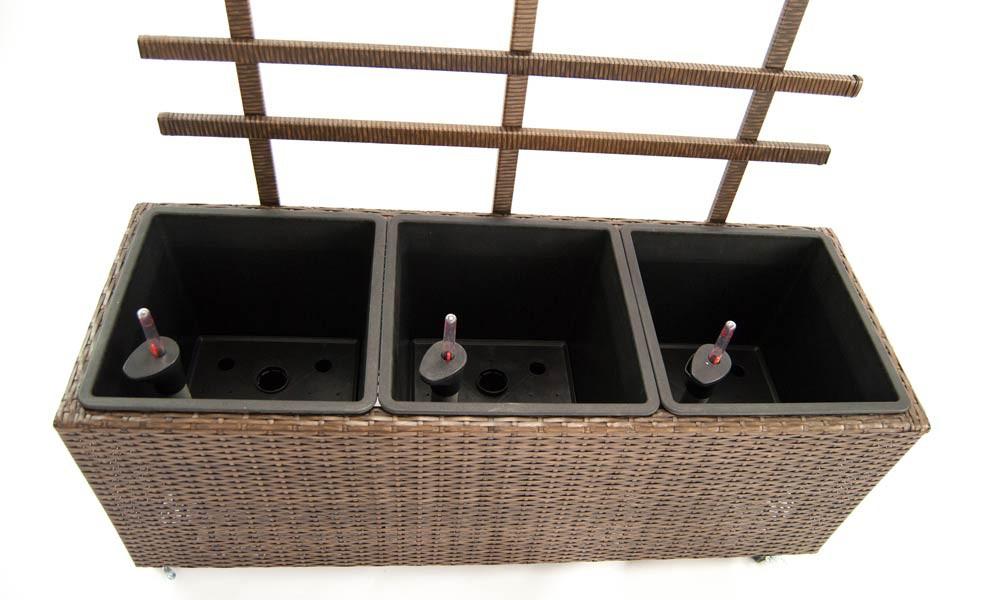 pflanzk bel pflanztrog polyrattan mit rankgitter 106x38x130cm mocca. Black Bedroom Furniture Sets. Home Design Ideas