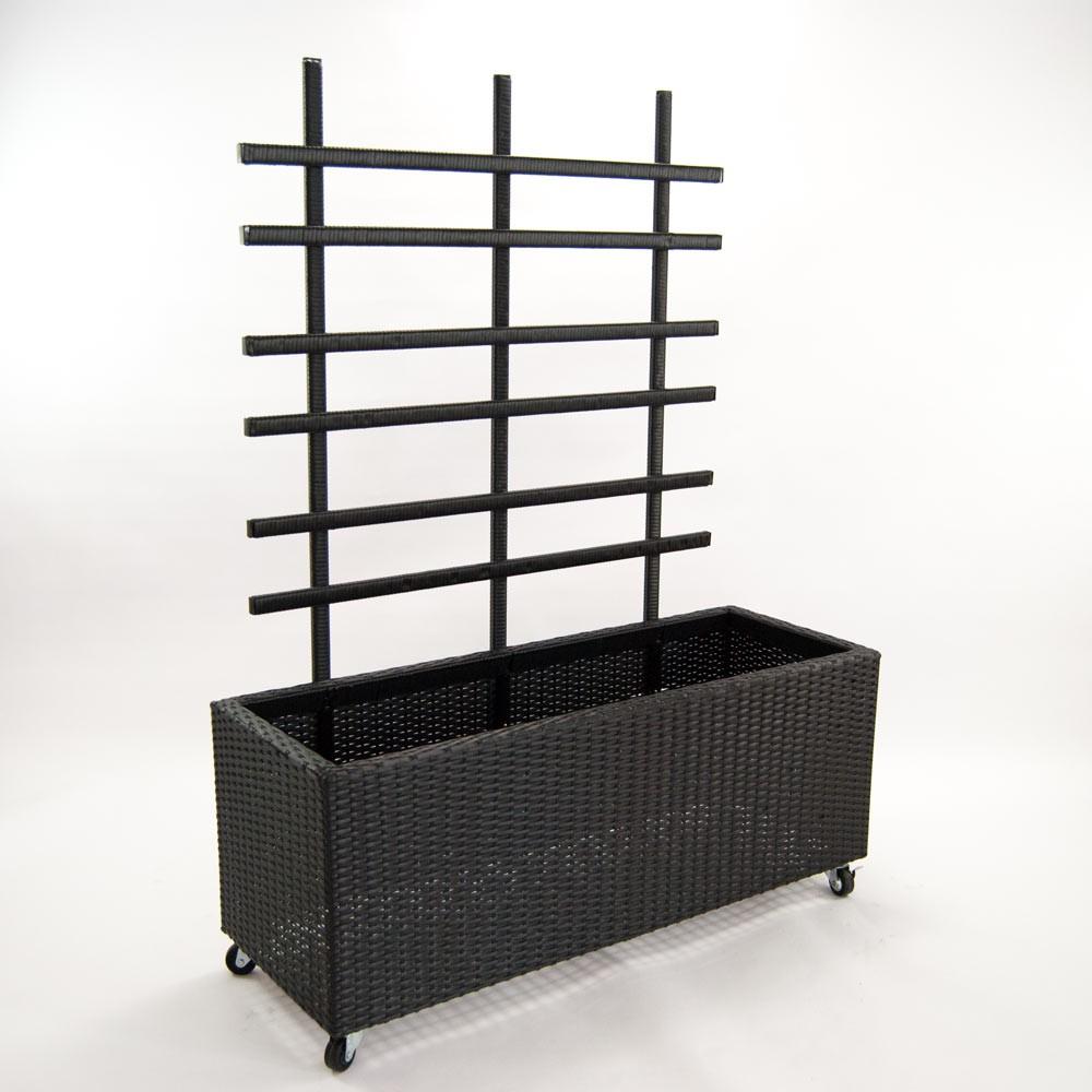 pflanzk bel pflanztrog polyrattan mit rankgitter 106x38x130cm schwarz. Black Bedroom Furniture Sets. Home Design Ideas