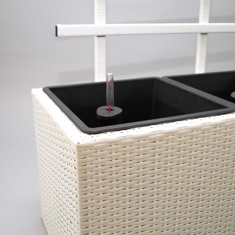 pflanzk bel pflanztrog polyrattan mit rankgitter 106x38x130cm wei. Black Bedroom Furniture Sets. Home Design Ideas